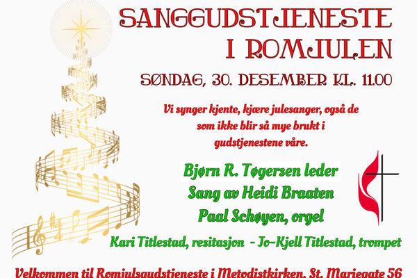 Sanggudstjeneste i romjulen, 30.12.18.