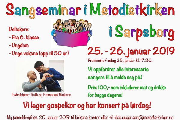 BLI MED PÅ SANGSEMINAR 25. - 26. JANUAR 2019!
