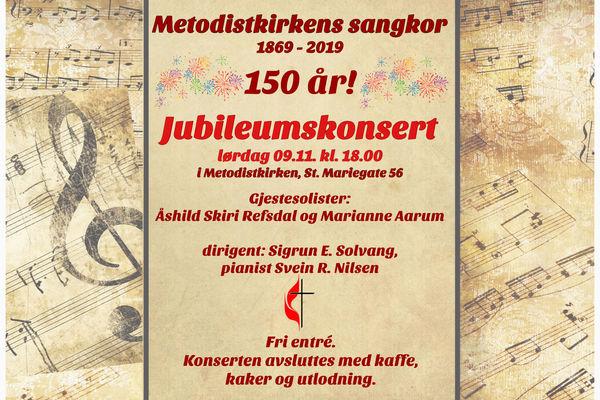 Jubileumskonsert - Metodistkirkens sangkor er 150 år!